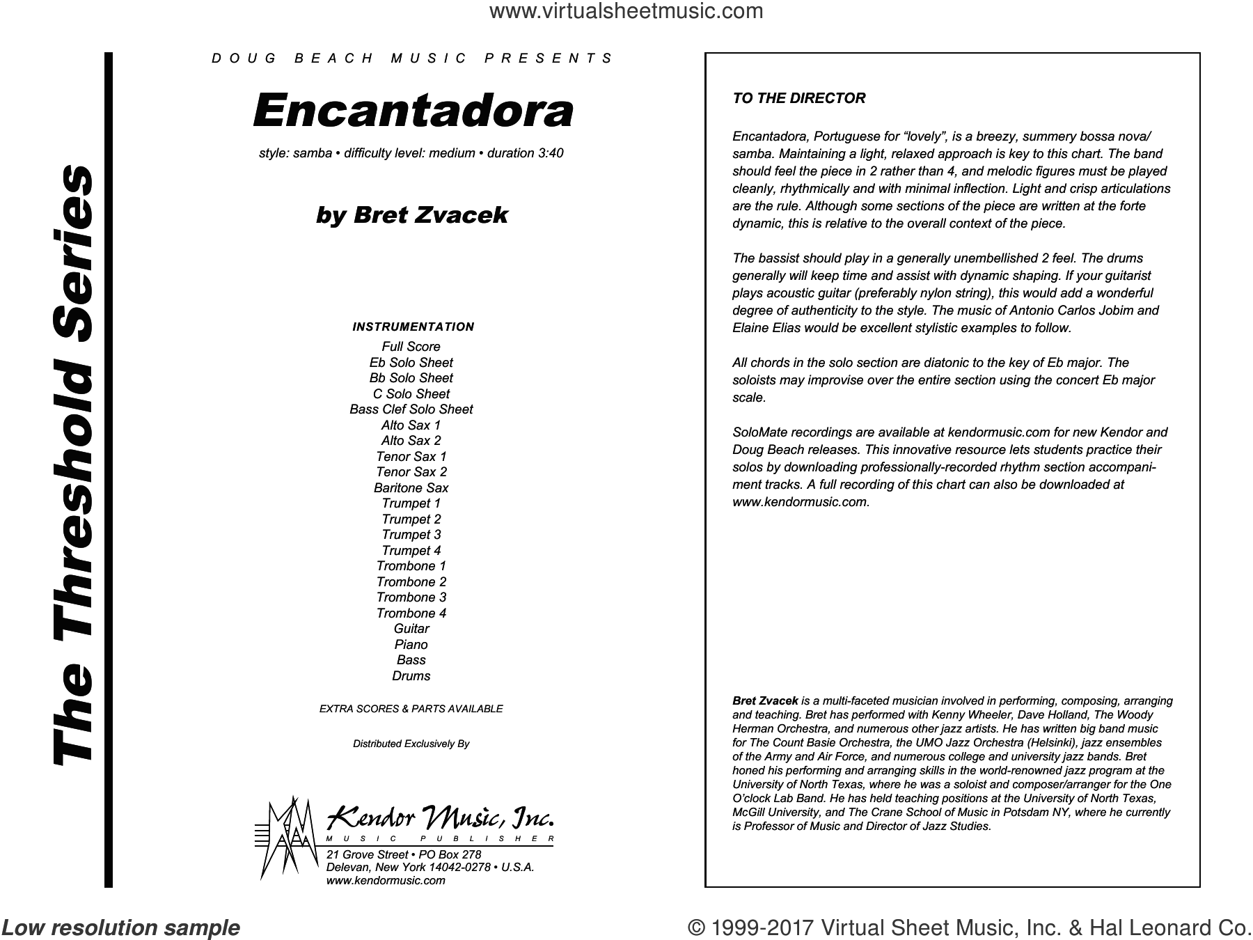 Encantadora (COMPLETE) sheet music for jazz band by Bret Zvacek, intermediate jazz band. Score Image Preview.