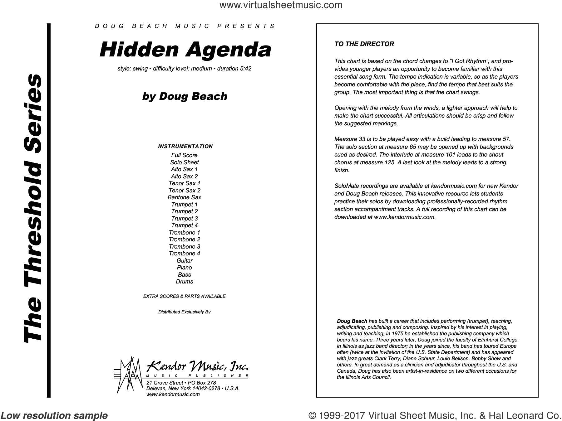 Hidden Agenda (COMPLETE) sheet music for jazz band by Doug Beach, intermediate. Score Image Preview.