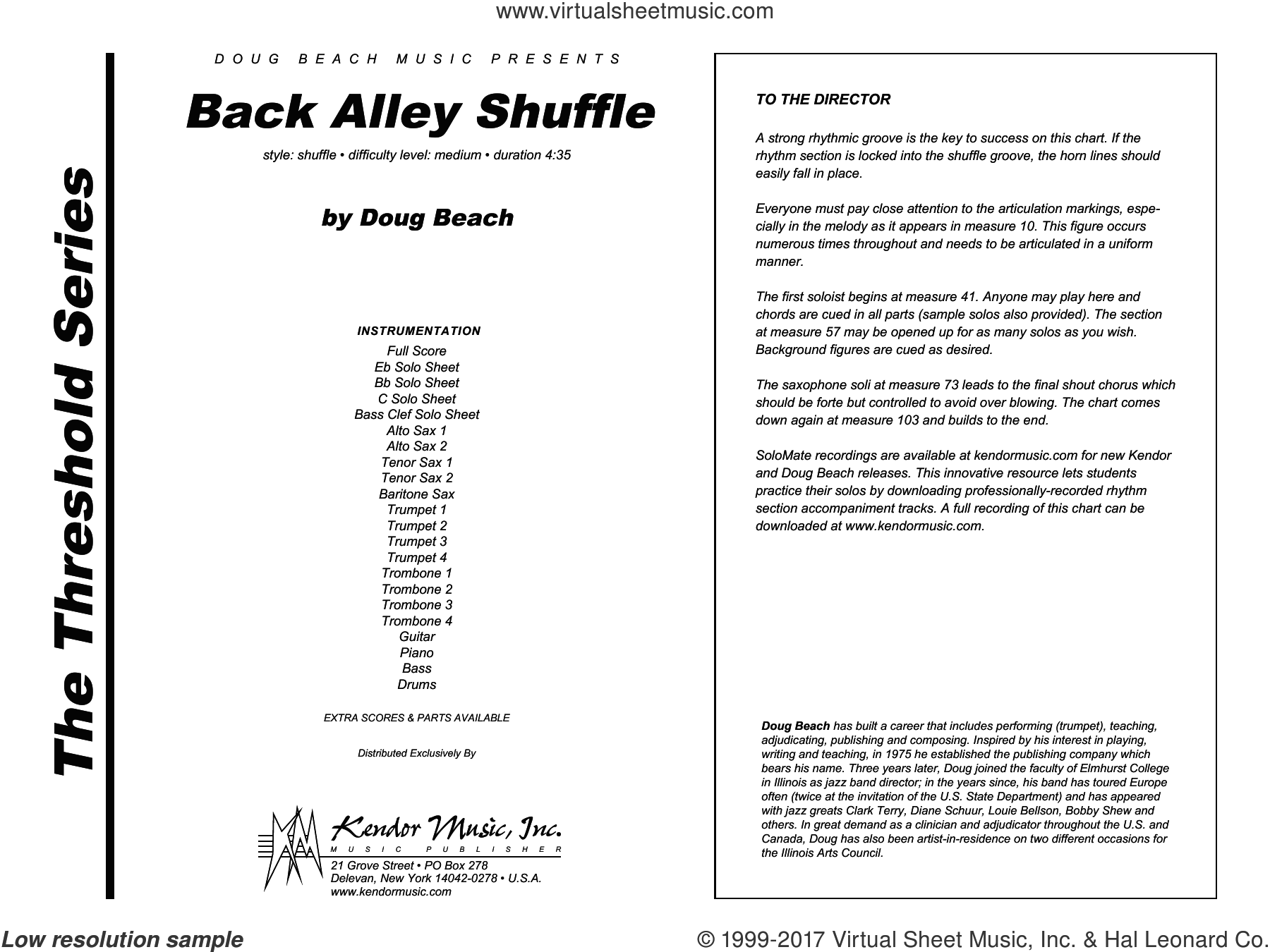Back Alley Shuffle (COMPLETE) sheet music for jazz band by Doug Beach, intermediate skill level