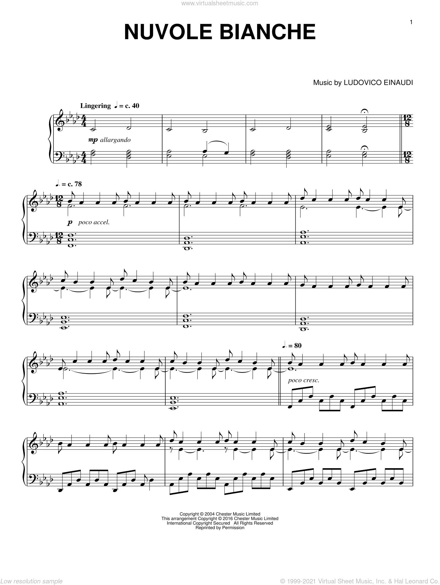 Nuvole Bianche sheet music for piano solo by Ludovico Einaudi, intermediate skill level