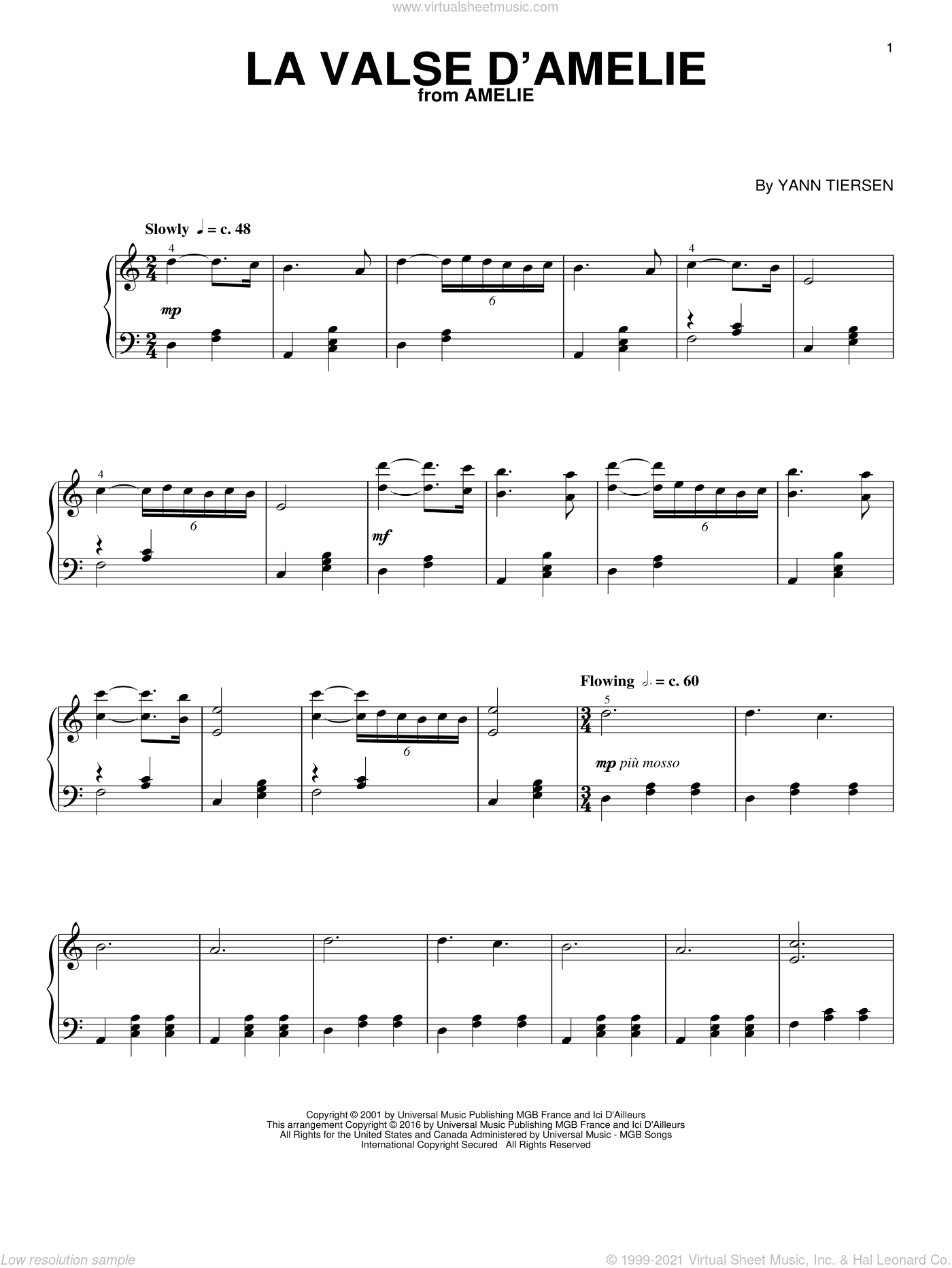 La Valse D'Amelie sheet music for piano solo by Yann Tiersen, classical score, intermediate skill level