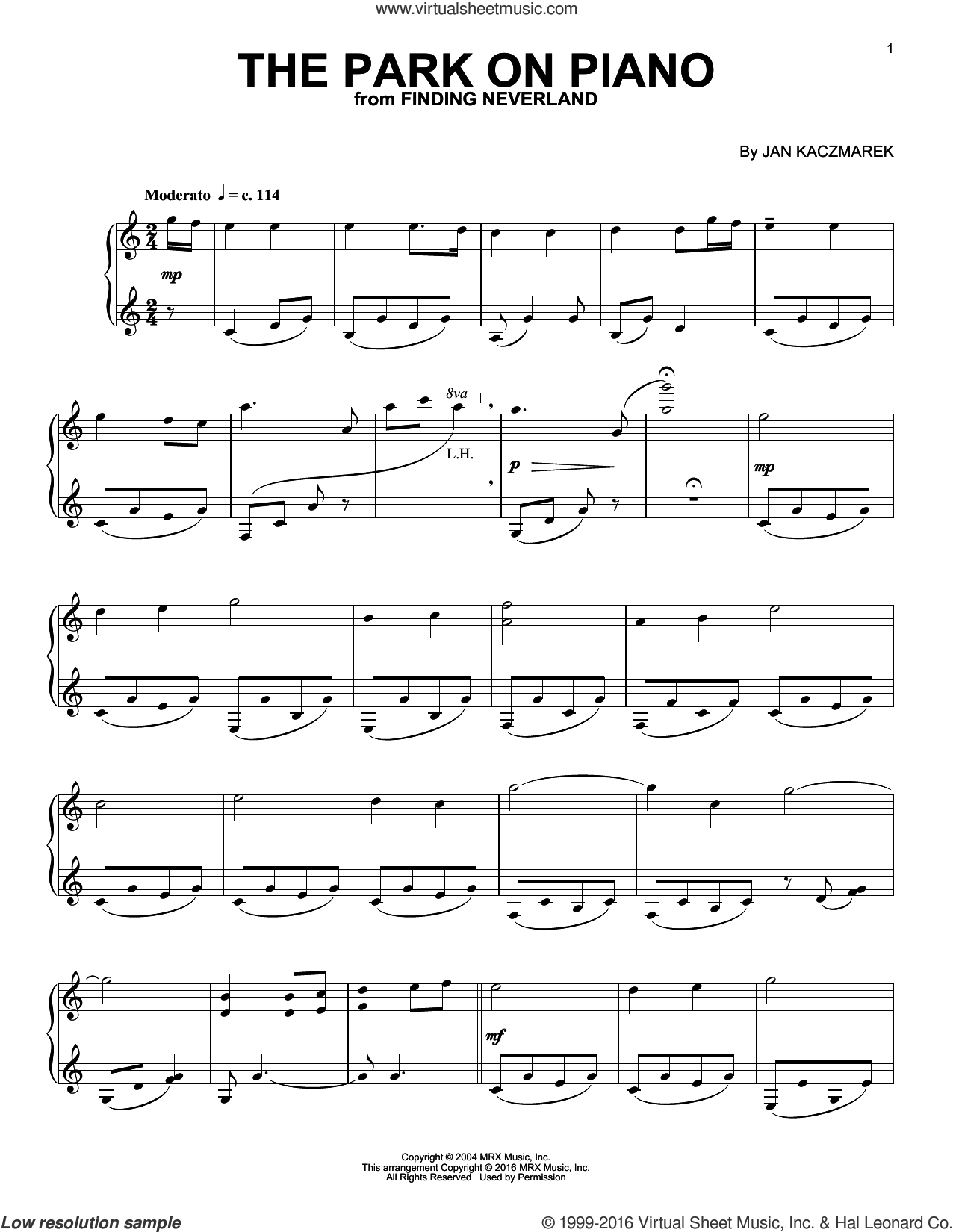 The Park On Piano sheet music for piano solo by Jan A.P. Kaczmarek, intermediate skill level