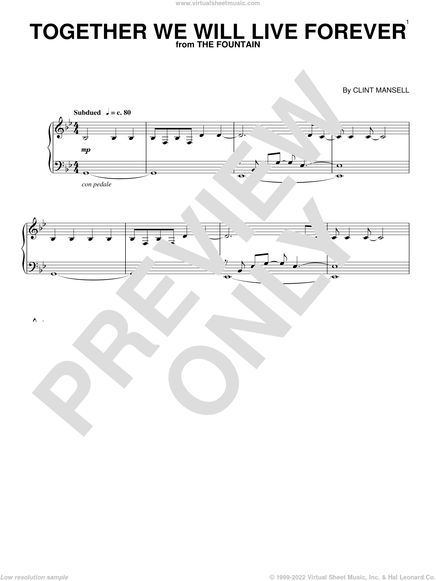 Together We Will Live Forever sheet music for piano solo by Clint Mansell, intermediate skill level