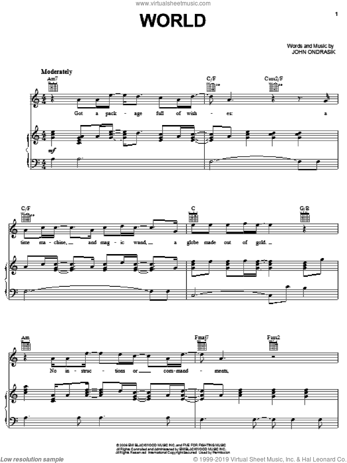 World sheet music for voice, piano or guitar by John Ondrasik and Five For Fighting. Score Image Preview.