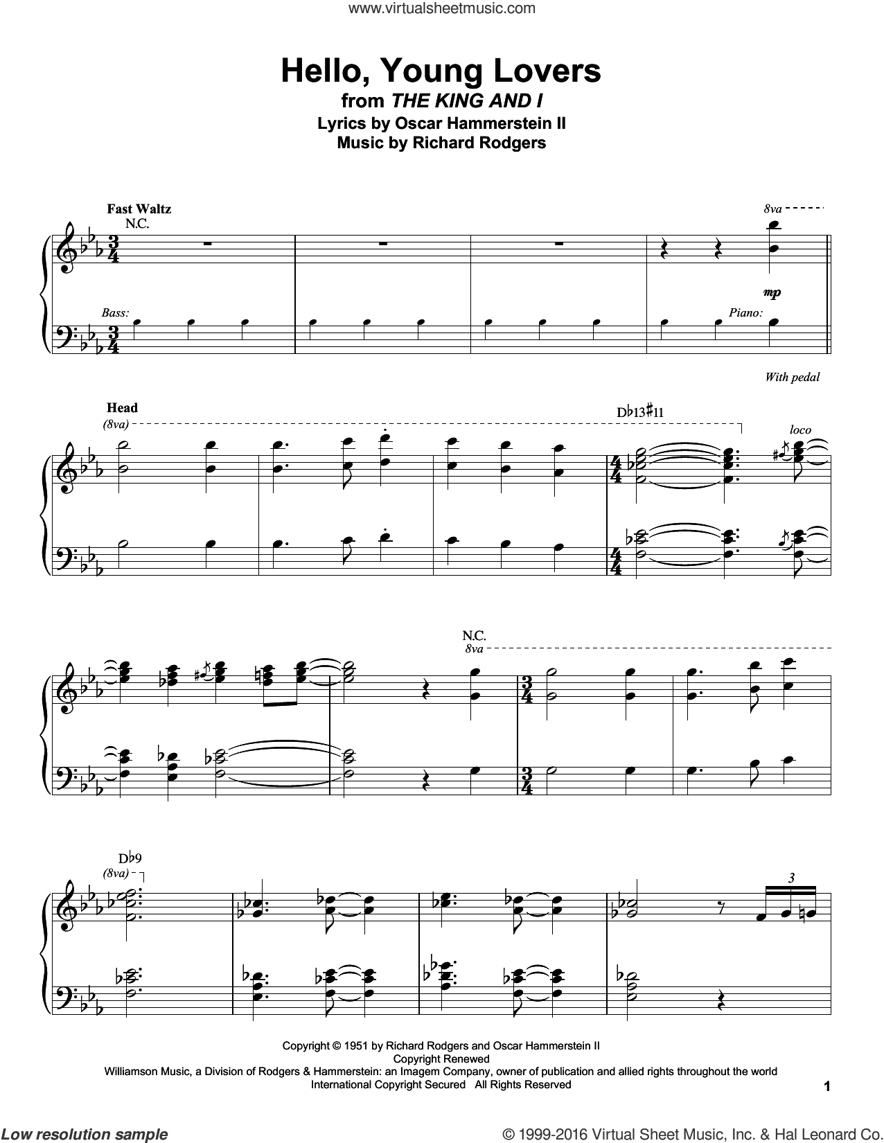 Hello, Young Lovers sheet music for piano solo (transcription) by Rodgers & Hammerstein, Stevie Wonder, Oscar II Hammerstein and Richard Rodgers. Score Image Preview.