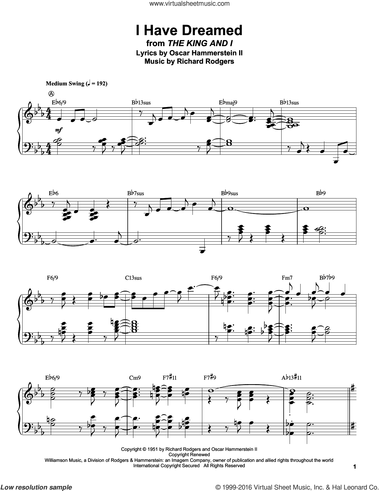 I Have Dreamed sheet music for piano solo (transcription) by Rodgers & Hammerstein, Oscar II Hammerstein and Richard Rodgers. Score Image Preview.
