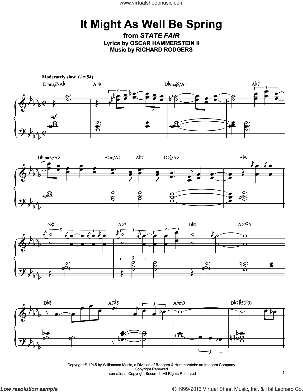 It Might As Well Be Spring sheet music for piano solo (transcription) by Rodgers & Hammerstein, Oscar II Hammerstein and Richard Rodgers. Score Image Preview.