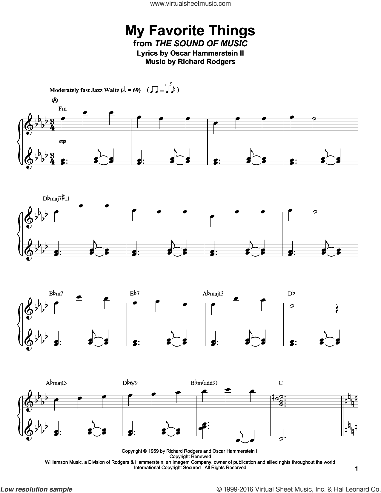 My Favorite Things sheet music for piano solo (transcription) by Rodgers & Hammerstein, Chicago, Lorrie Morgan, Oscar II Hammerstein and Richard Rodgers, intermediate piano (transcription). Score Image Preview.