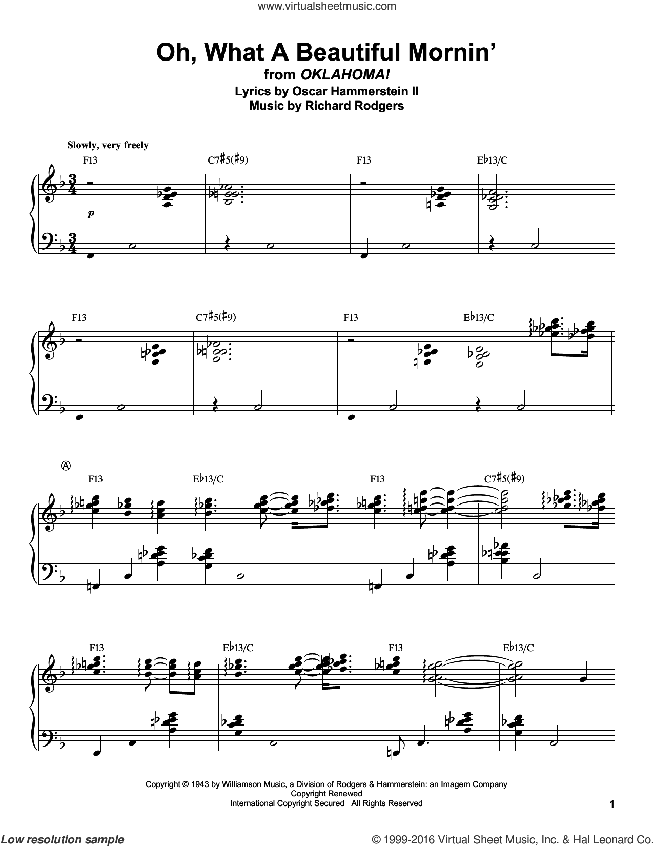 Oh, What A Beautiful Mornin' sheet music for piano solo (transcription) by Rodgers & Hammerstein, Oscar II Hammerstein and Richard Rodgers, intermediate piano (transcription)