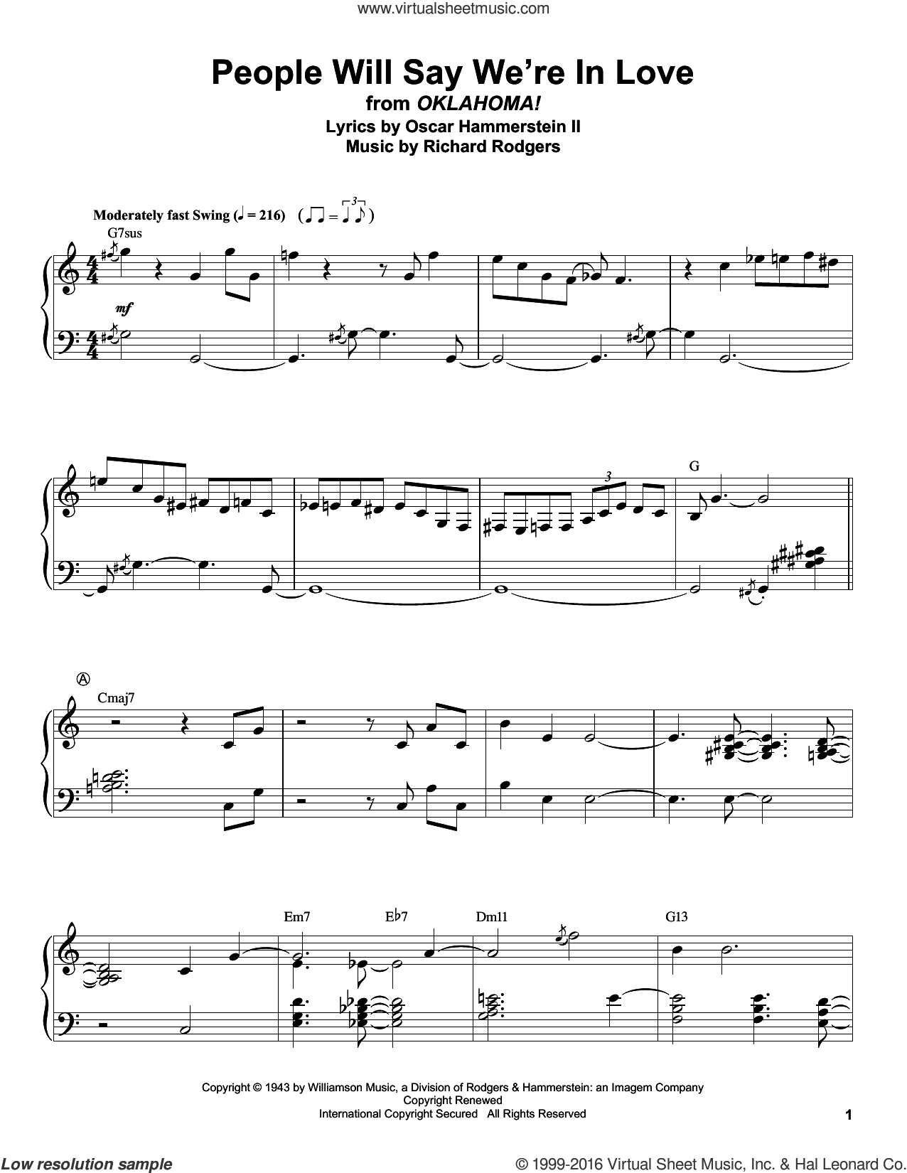 People Will Say We're In Love sheet music for piano solo (transcription) by Rodgers & Hammerstein, Oscar II Hammerstein and Richard Rodgers. Score Image Preview.