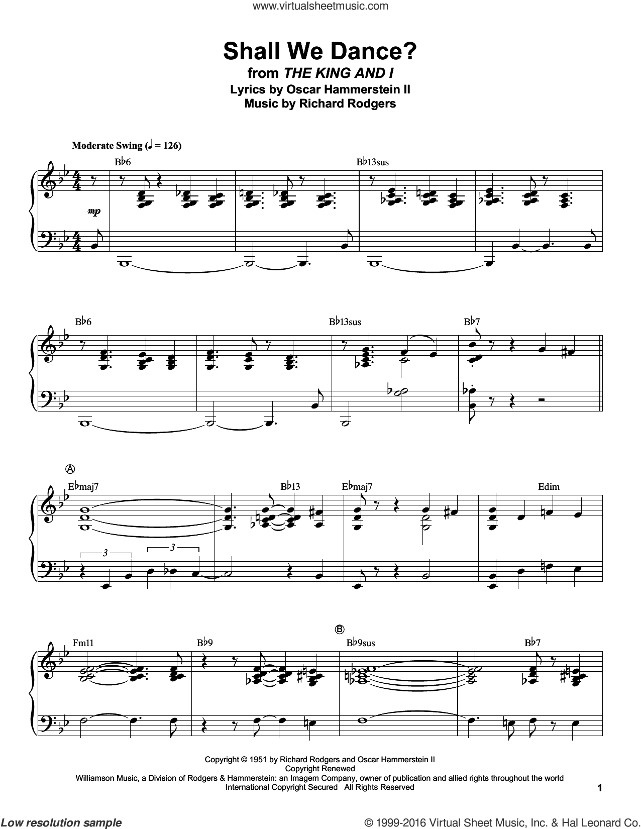 Shall We Dance? sheet music for piano solo (transcription) by Rodgers & Hammerstein, Oscar II Hammerstein and Richard Rodgers, intermediate piano (transcription). Score Image Preview.