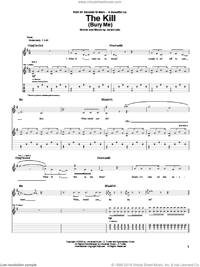 The Kill (Bury Me) sheet music for guitar (tablature) by Jared Leto. Score Image Preview.