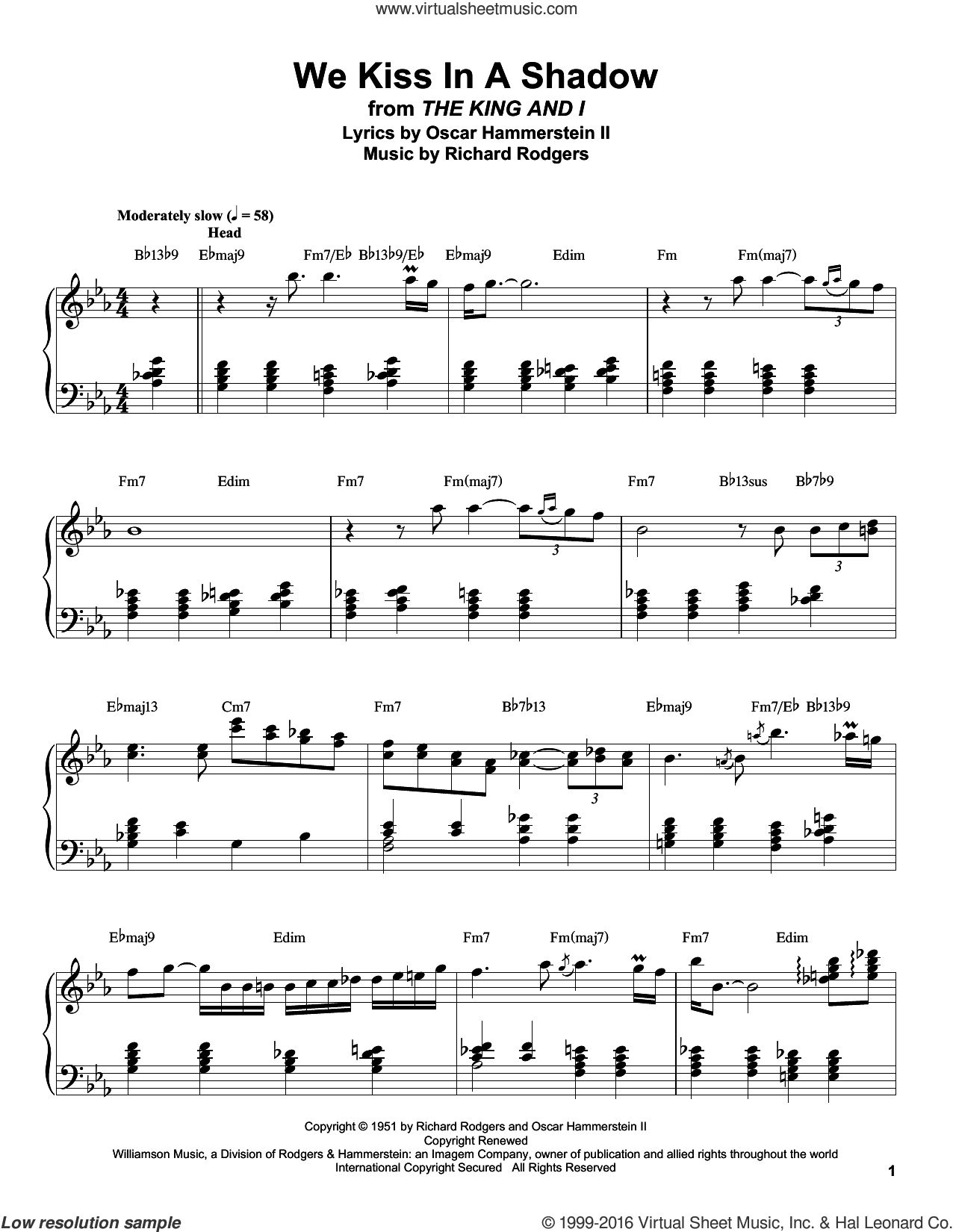 We Kiss In A Shadow sheet music for piano solo (transcription) by Rodgers & Hammerstein, Oscar II Hammerstein and Richard Rodgers, intermediate piano (transcription). Score Image Preview.