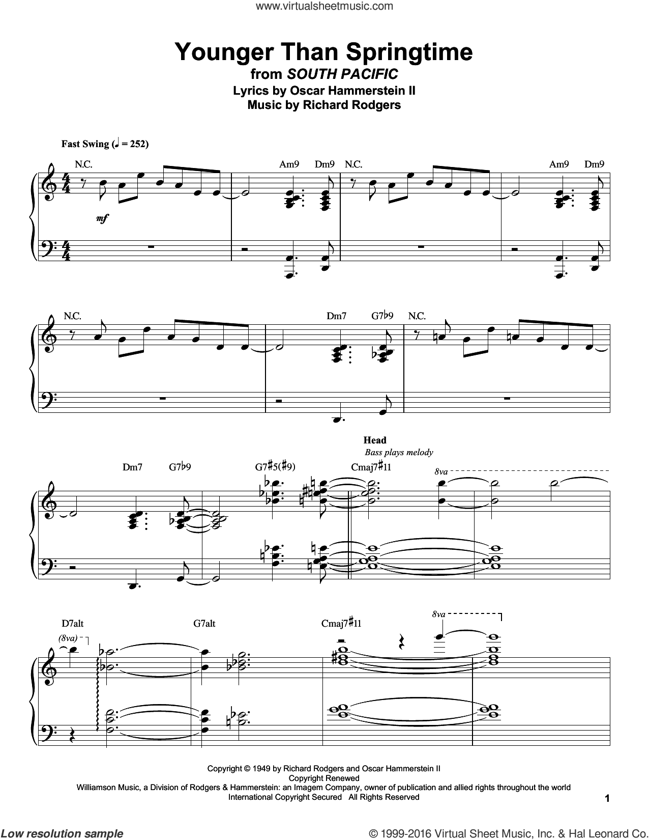 Younger Than Springtime sheet music for piano solo (transcription) by Rodgers & Hammerstein, Gordon MacRae, Stan Kenton, Oscar II Hammerstein and Richard Rodgers. Score Image Preview.