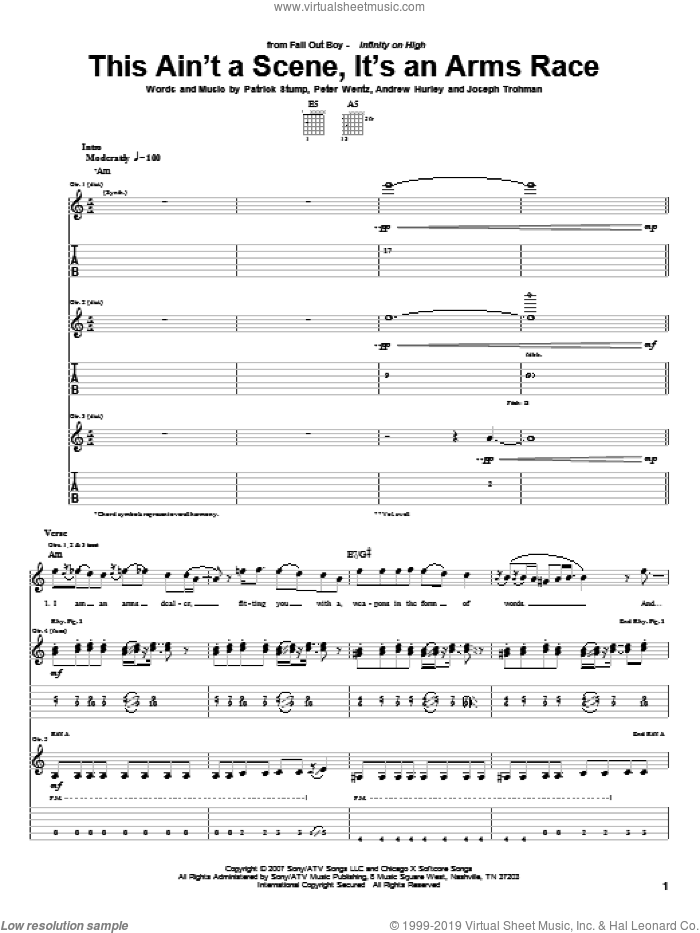 This Ain't A Scene, It's An Arms Race sheet music for guitar (tablature) by Peter Wentz, Fall Out Boy and Andrew Hurley. Score Image Preview.