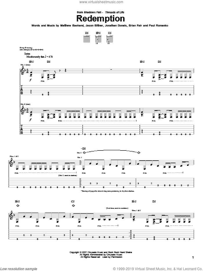 Redemption sheet music for guitar (tablature) by Shadows Fall, intermediate guitar (tablature). Score Image Preview.