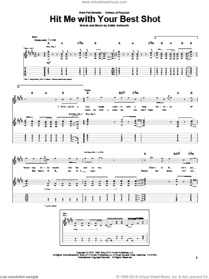 Hit Me With Your Best Shot sheet music for guitar (tablature) by Pat Benatar and Eddie Schwartz, intermediate