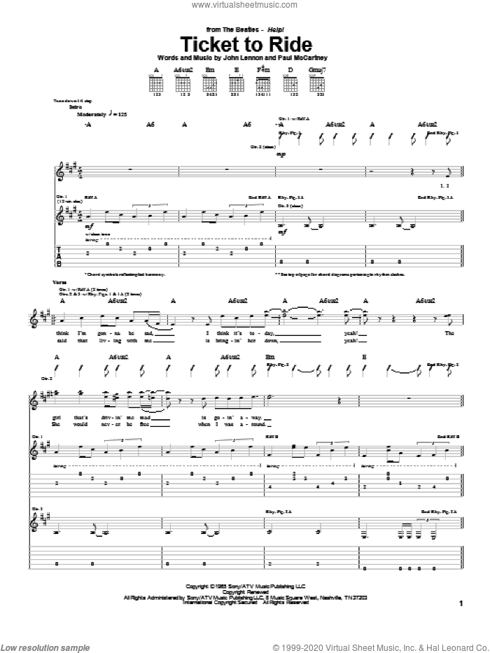 Ticket To Ride sheet music for guitar (tablature) by The Beatles, John Lennon and Paul McCartney. Score Image Preview.