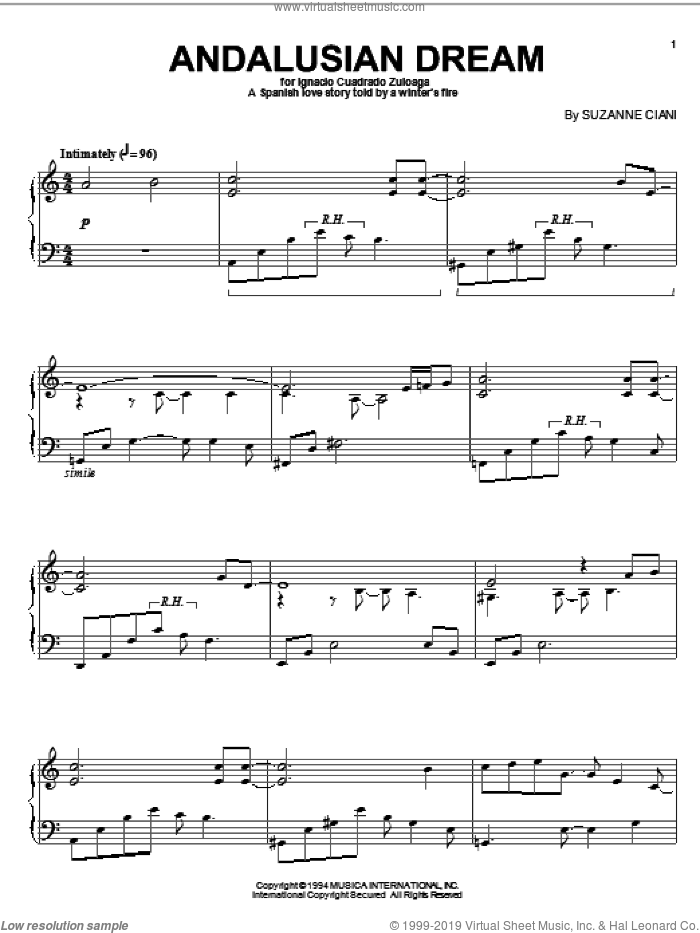 Andalusian Dream sheet music for piano solo by Suzanne Ciani. Score Image Preview.