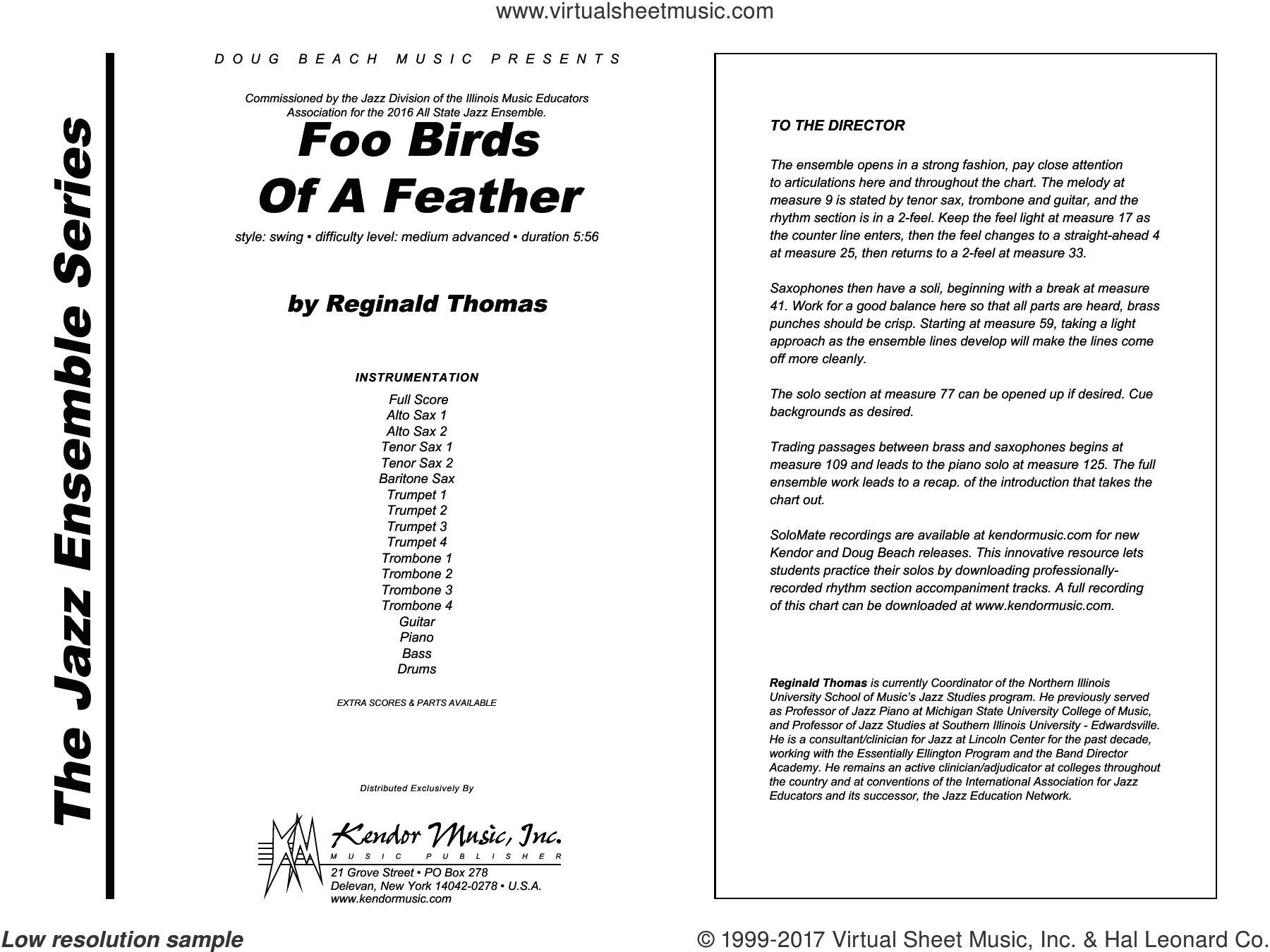Foo Birds Of A Feather (COMPLETE) sheet music for jazz band by Reginald Thomas, intermediate. Score Image Preview.