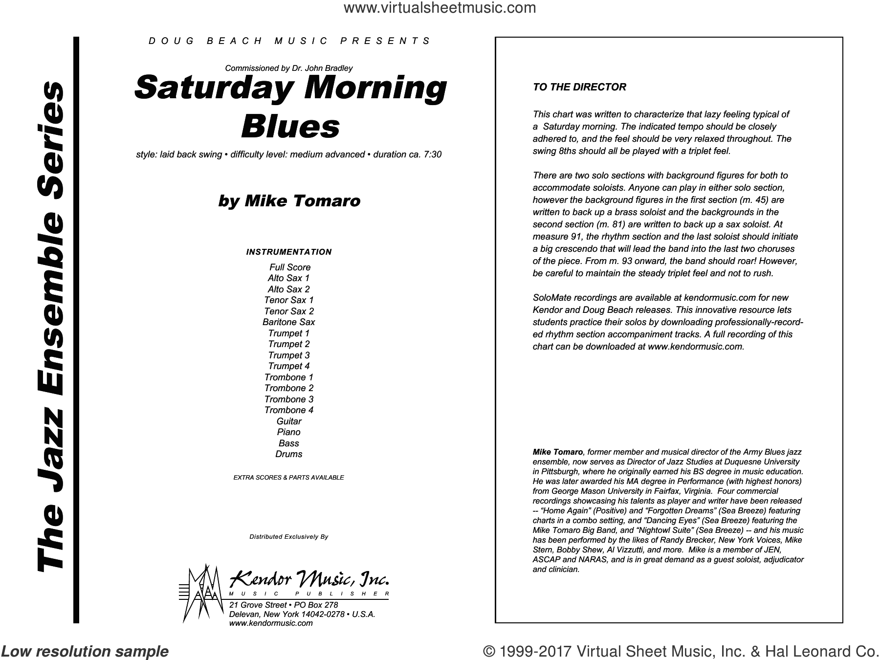 Tomaro - Saturday Morning Blues sheet music (complete collection) for jazz  band