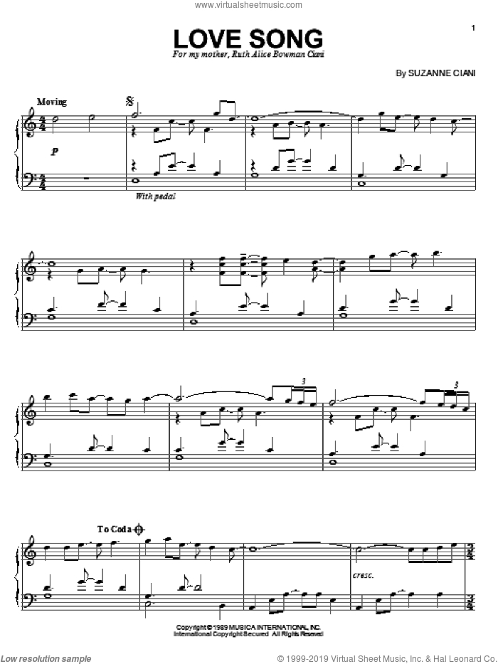 Love Song sheet music for piano solo by Suzanne Ciani. Score Image Preview.