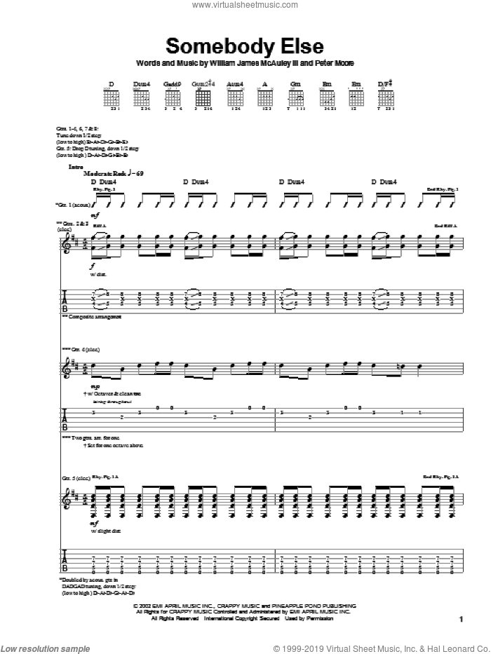 Somebody Else sheet music for guitar (tablature) by Bleu, Spider-Man (Movie), Peter Moore and William James McAuley, intermediate skill level