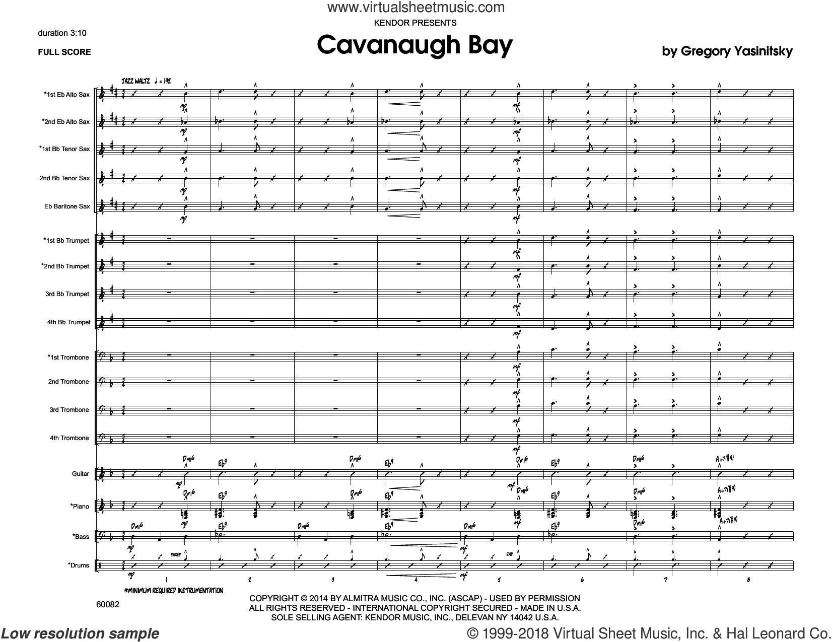 Cavanaugh Bay (COMPLETE) sheet music for jazz band by Gregory Yasinitsky, intermediate skill level