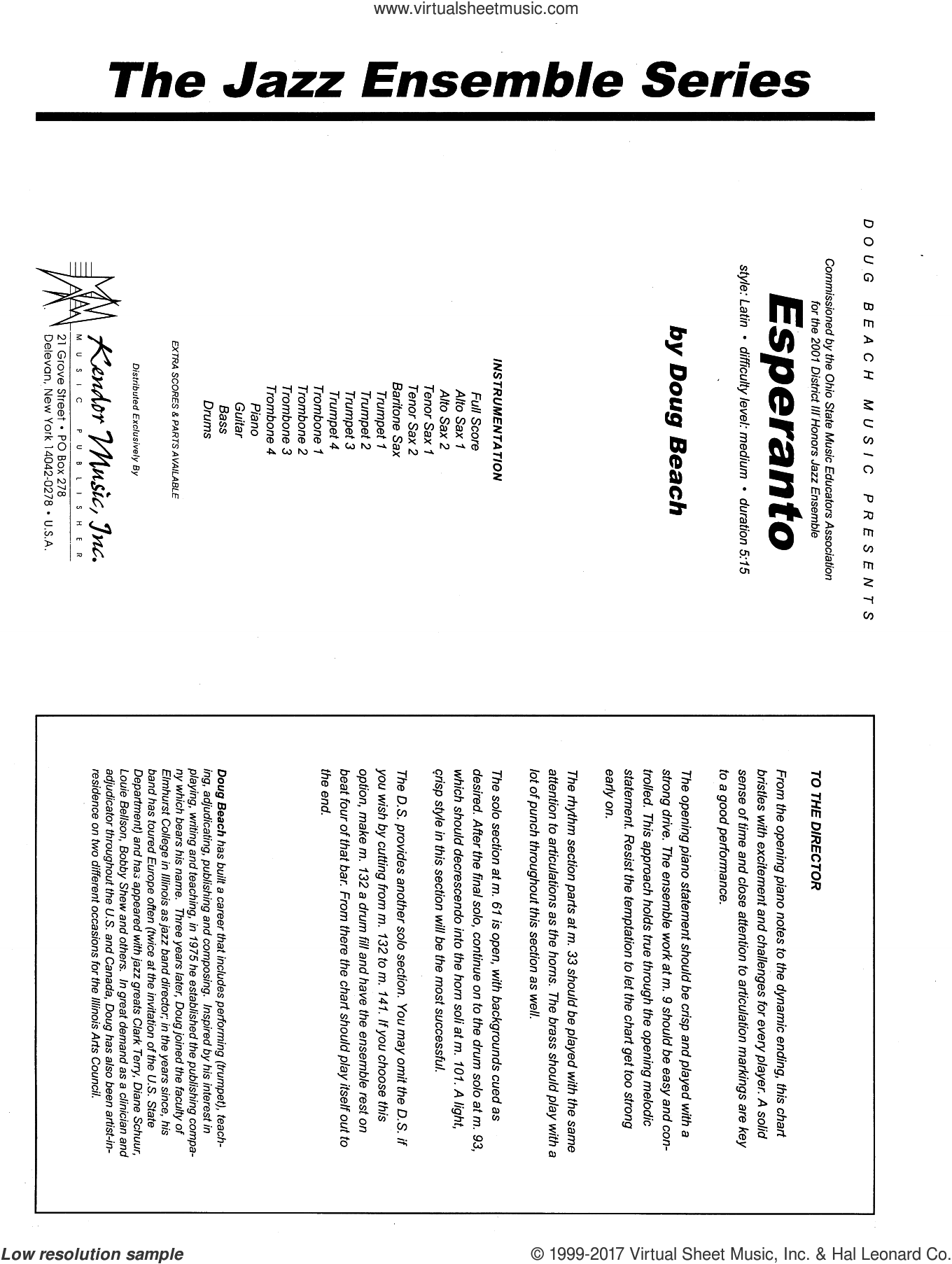 Esperanto (COMPLETE) sheet music for jazz band by Doug Beach, intermediate jazz band. Score Image Preview.
