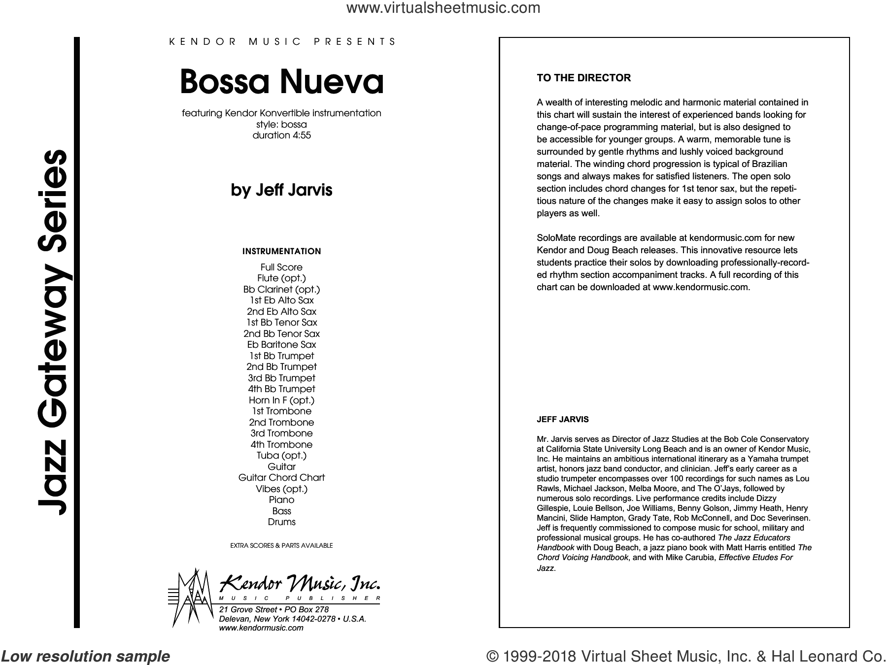 Bossa Nueva (COMPLETE) sheet music for jazz band by Jeff Jarvis, intermediate skill level