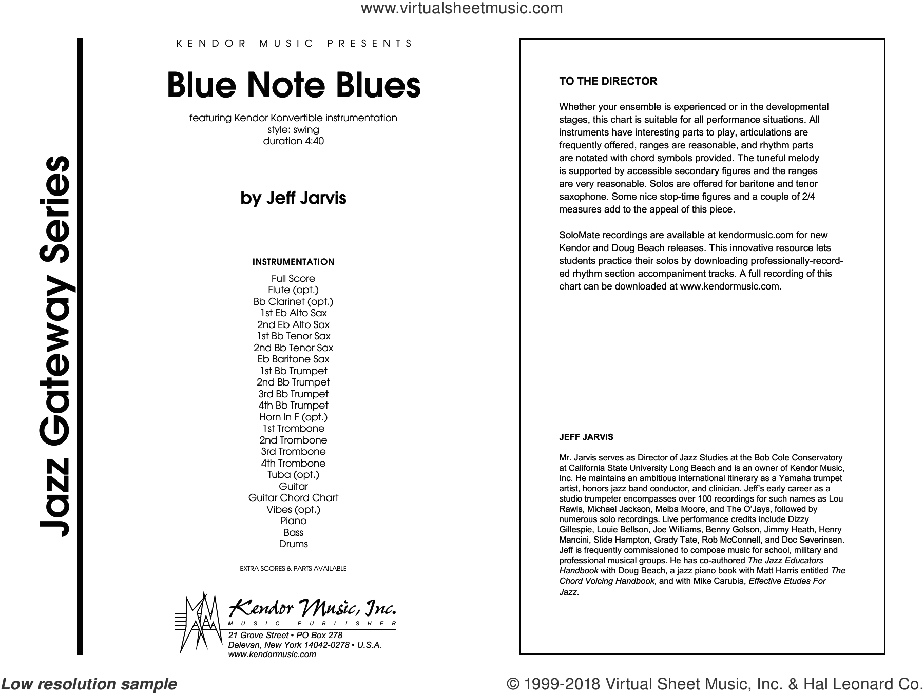 Blue Note Blues (COMPLETE) sheet music for jazz band by Jeff Jarvis, intermediate skill level