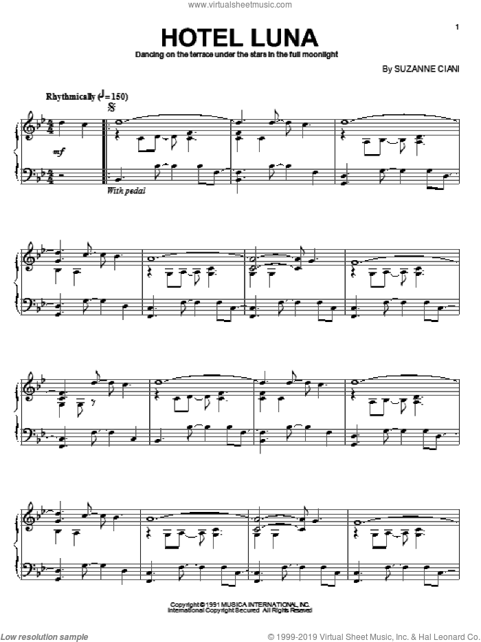 Hotel Luna sheet music for piano solo by Suzanne Ciani, intermediate skill level