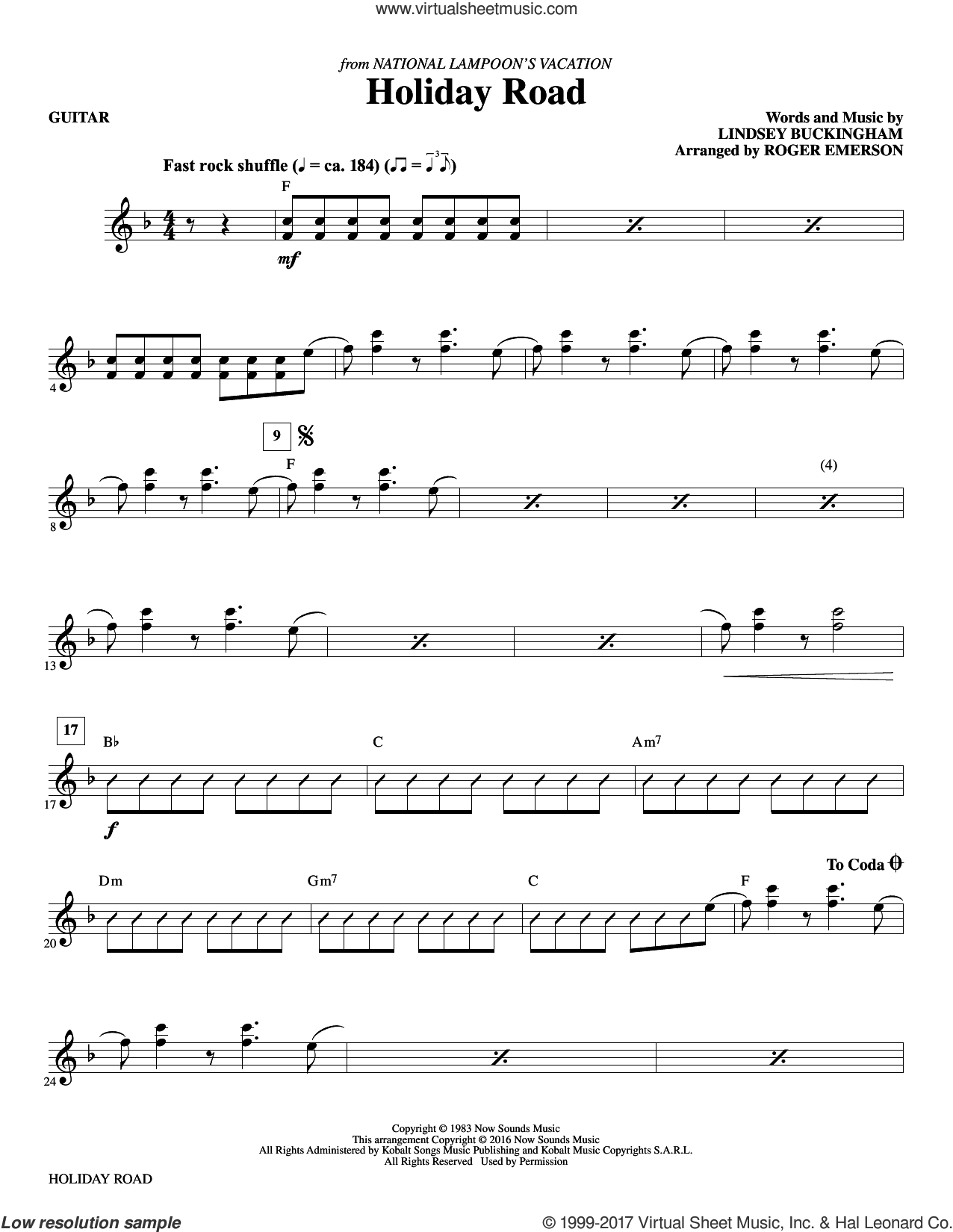 Holiday Road (complete set of parts) sheet music for orchestra/band by Lindsey Buckingham and R. Emerson, intermediate skill level