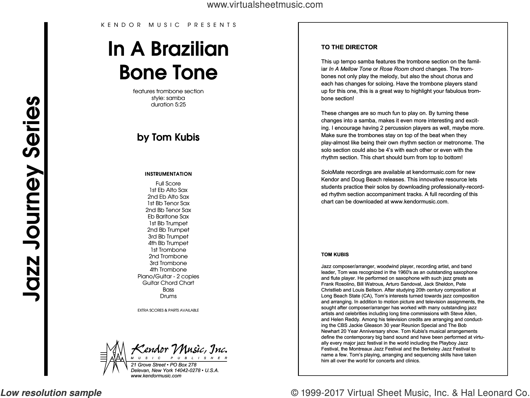 In A Brazilian Bone Tone (COMPLETE) sheet music for jazz band by Tom Kubis, intermediate jazz band. Score Image Preview.