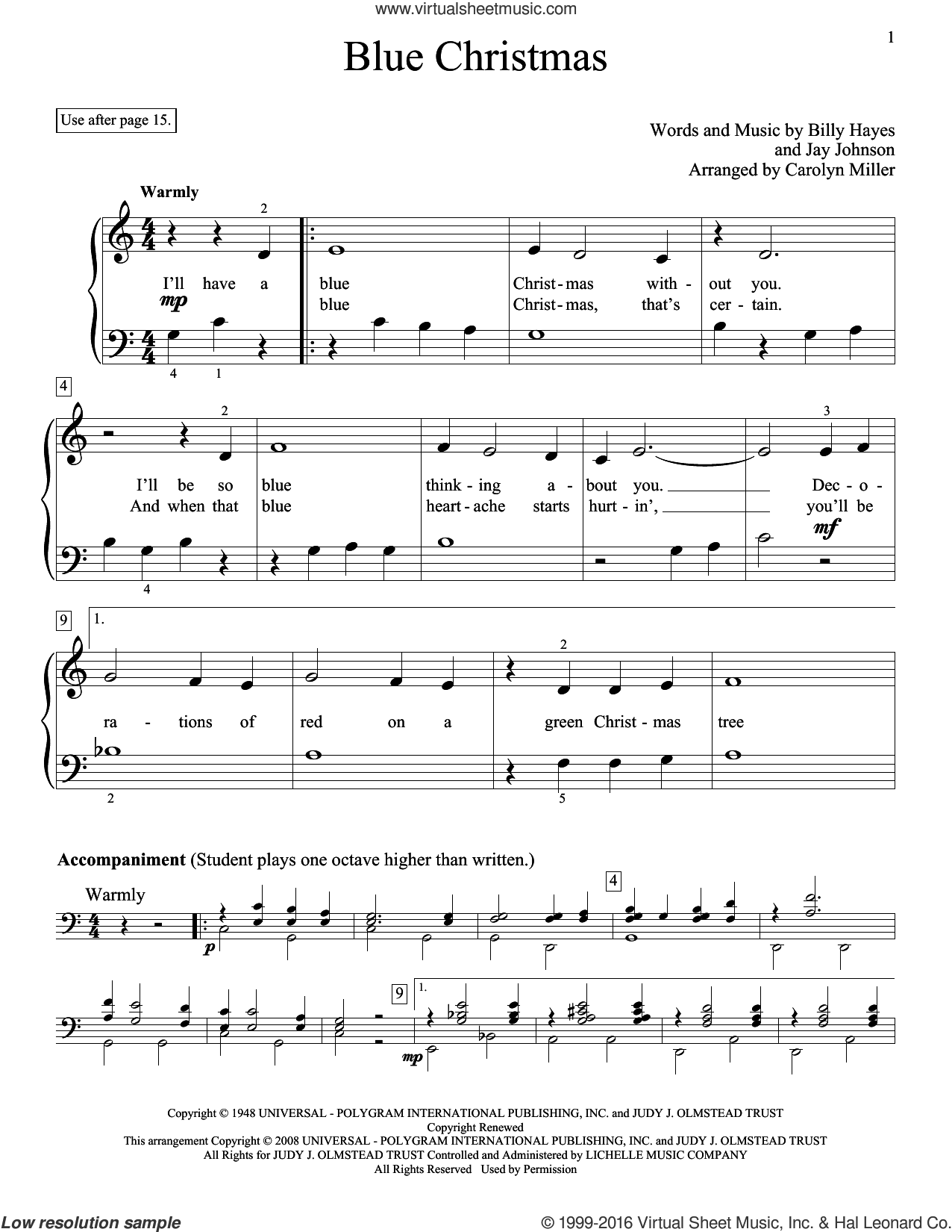 Blue Christmas sheet music for piano solo (elementary) by Carolyn Miller, Browns, Elvis Presley, Glenda Austin, Billy Hayes and Jay Johnson, beginner piano (elementary)