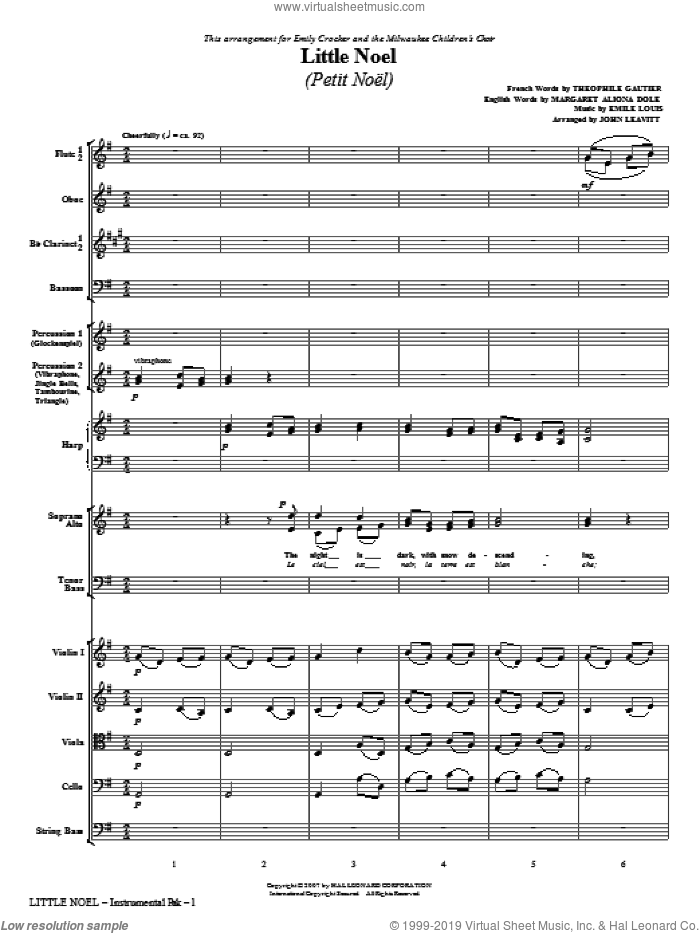 Little Noel (Petit Noel) (COMPLETE) sheet music for orchestra/band (chamber ensemble) by John Leavitt and Emile Louis, intermediate. Score Image Preview.