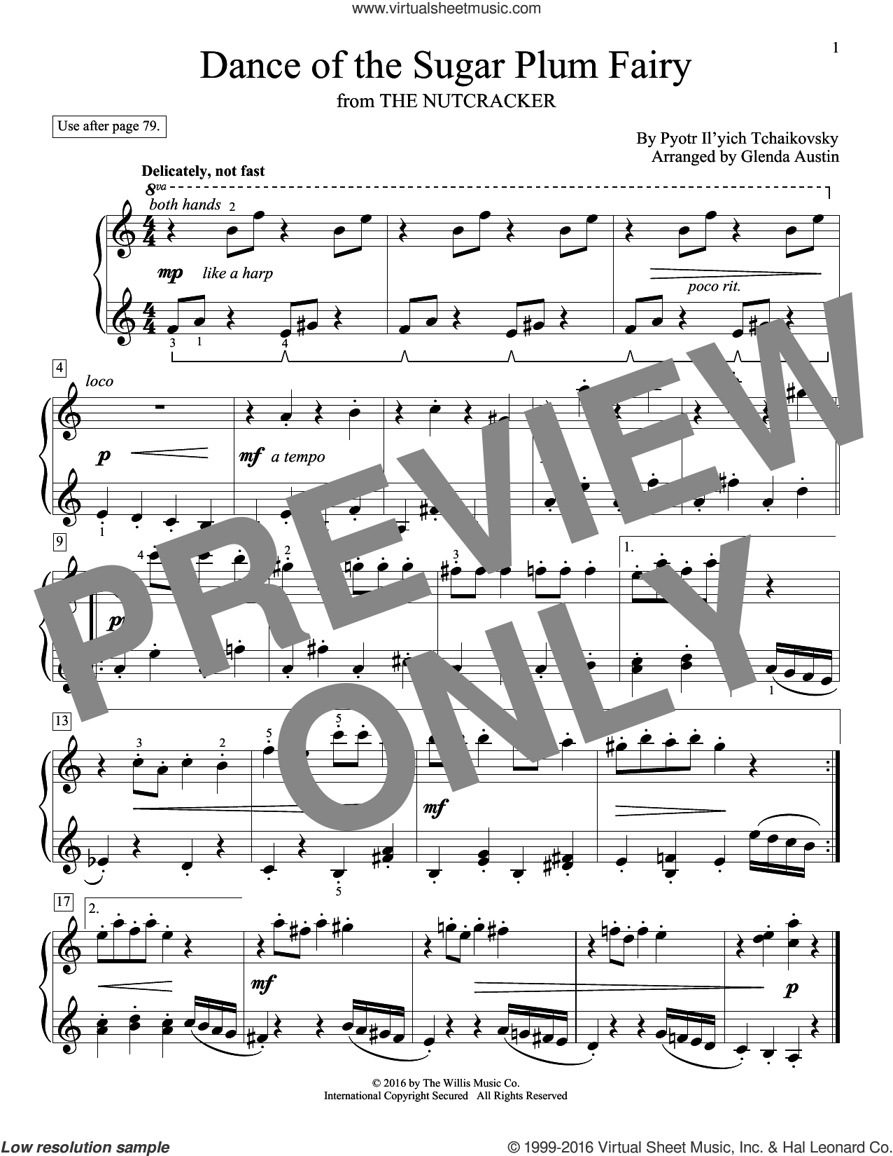 Dance Of The Sugar Plum Fairy sheet music for piano solo (elementary) by Glenda Austin