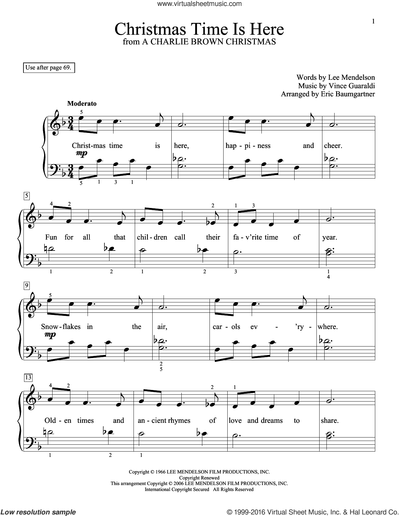 Christmas Time Is Here sheet music for piano solo (elementary) by Vince Guaraldi, Eric Baumgartner, Glenda Austin and Lee Mendelson. Score Image Preview.