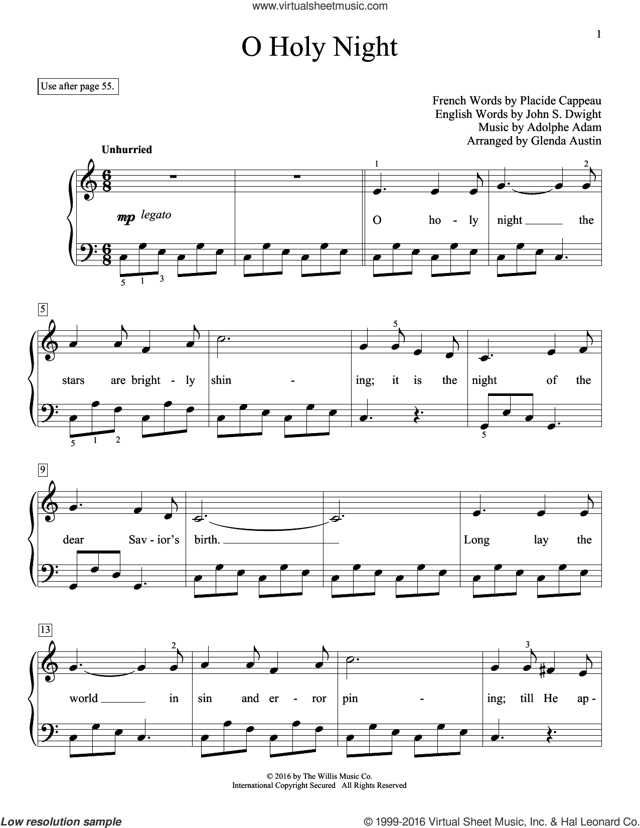 O Holy Night sheet music for piano solo (elementary) by Adolphe Adam and Glenda Austin. Score Image Preview.