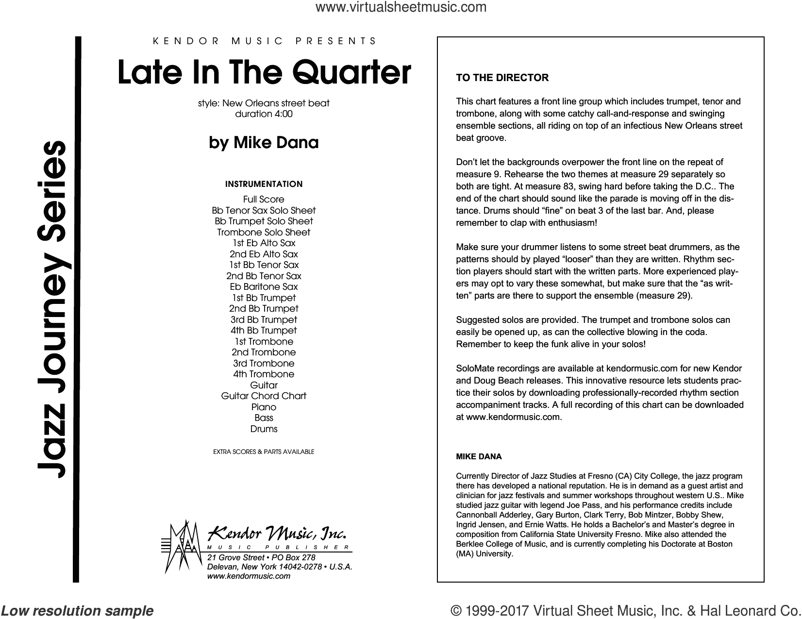 Late In The Quarter (COMPLETE) sheet music for jazz band by Dana, intermediate skill level