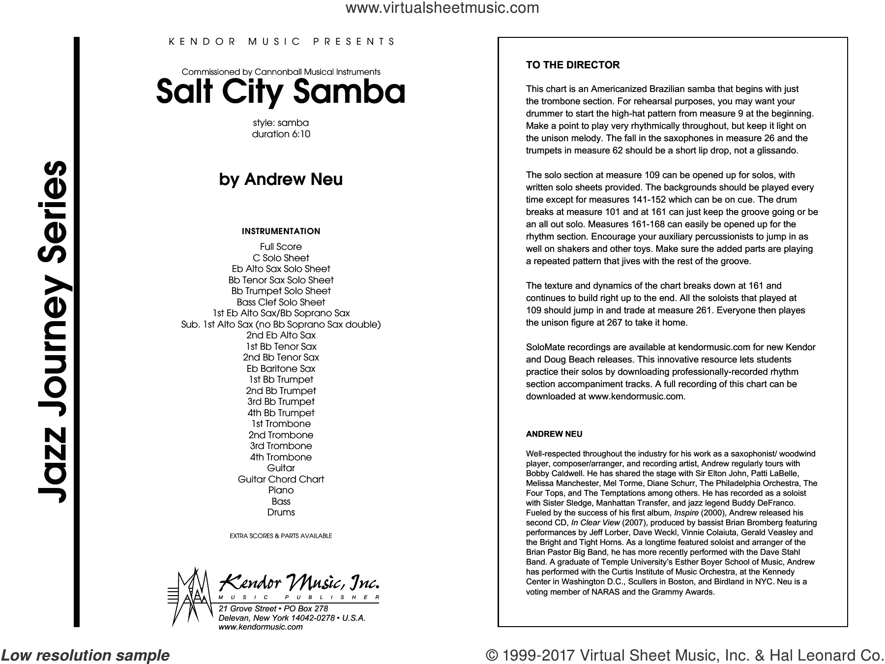 Salt City Samba (COMPLETE) sheet music for jazz band by Neu, intermediate. Score Image Preview.