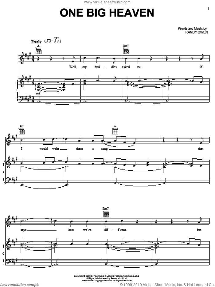 One Big Heaven sheet music for voice, piano or guitar by Randy Owen