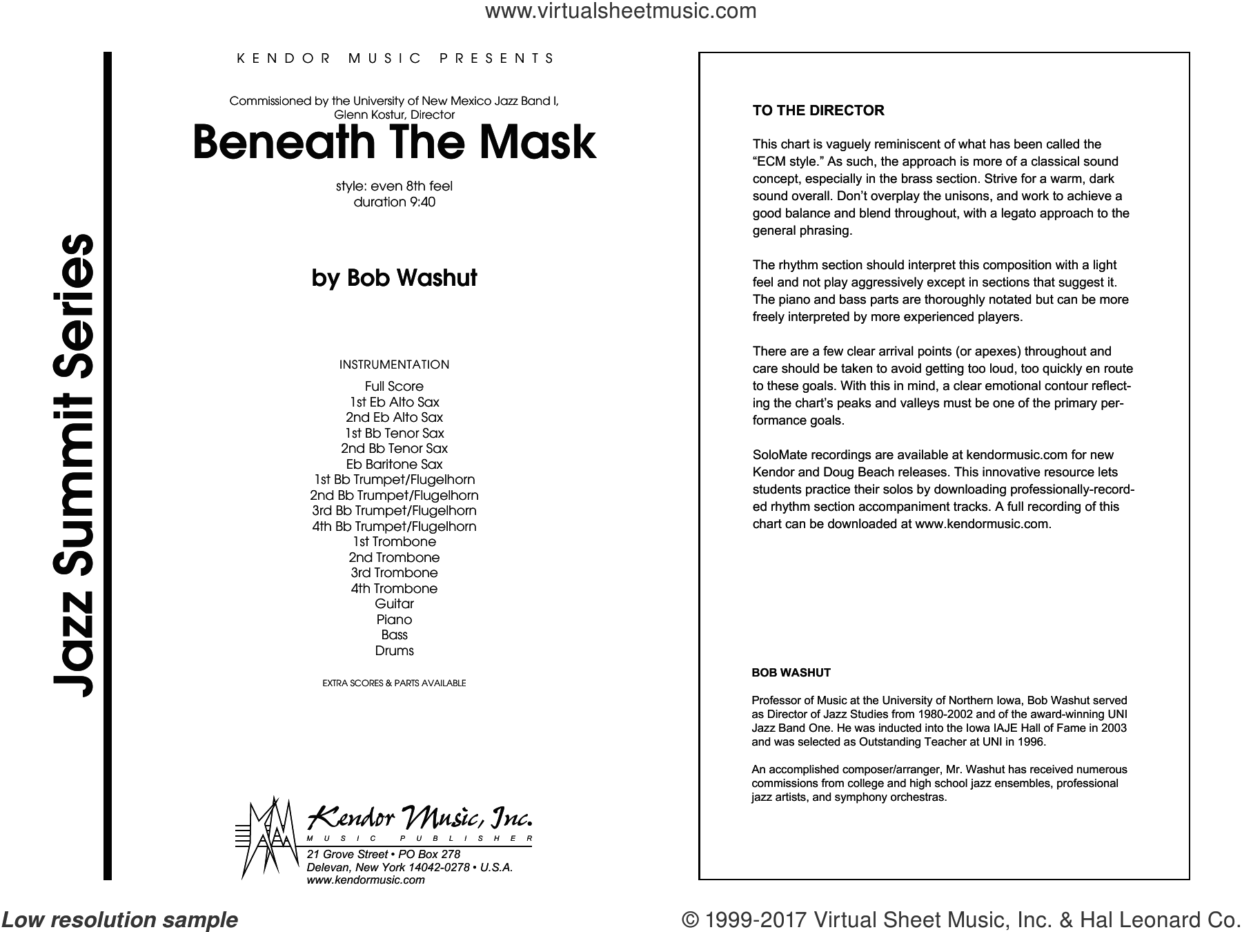 Beneath The Mask (COMPLETE) sheet music for jazz band by Washut, intermediate