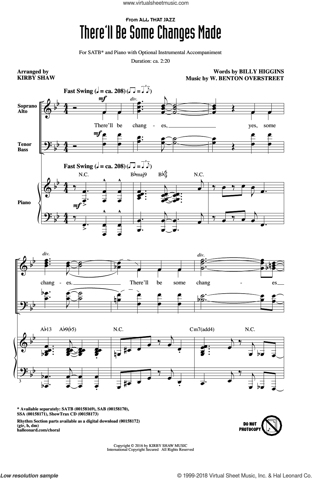 There'll Be Some Changes Made sheet music for choir and piano (SATB) by W. Benton Overstreet and Kirby Shaw. Score Image Preview.