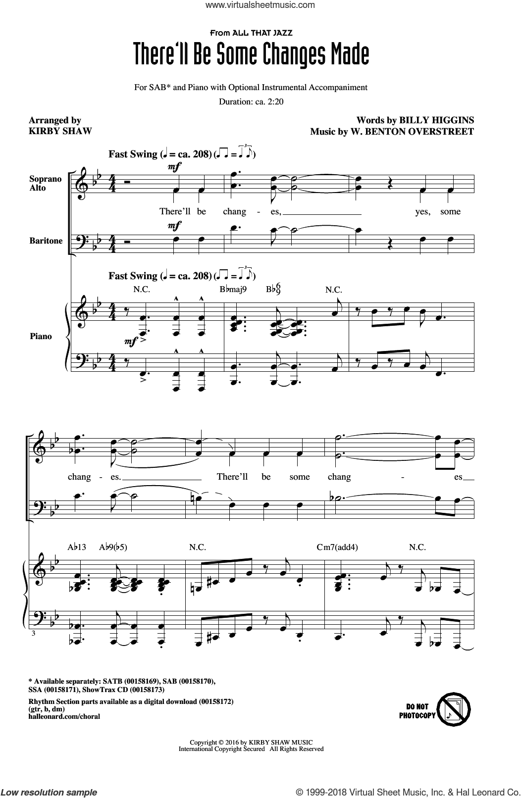 There'll Be Some Changes Made sheet music for choir (SAB) by Billy Higgins and Kirby Shaw, intermediate choir (SAB). Score Image Preview.