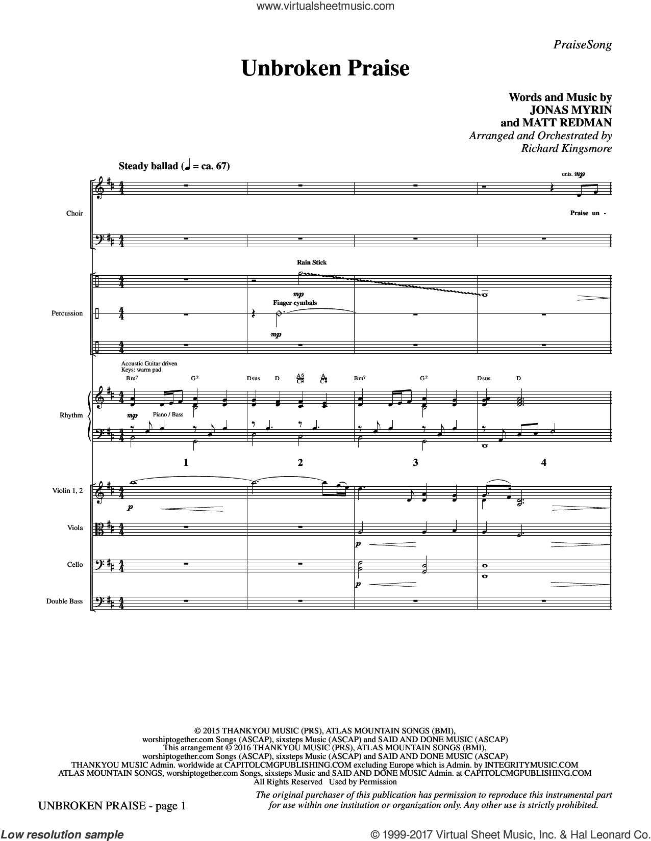 Unbroken Praise (COMPLETE) sheet music for orchestra by Matt Redman, Richard Kingsmore and Jonas Myrin, intermediate orchestra. Score Image Preview.