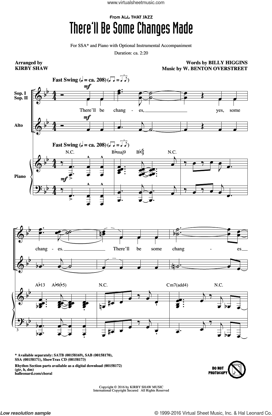 There'll Be Some Changes Made sheet music for choir (soprano voice, alto voice, choir) by Billy Higgins and Kirby Shaw. Score Image Preview.
