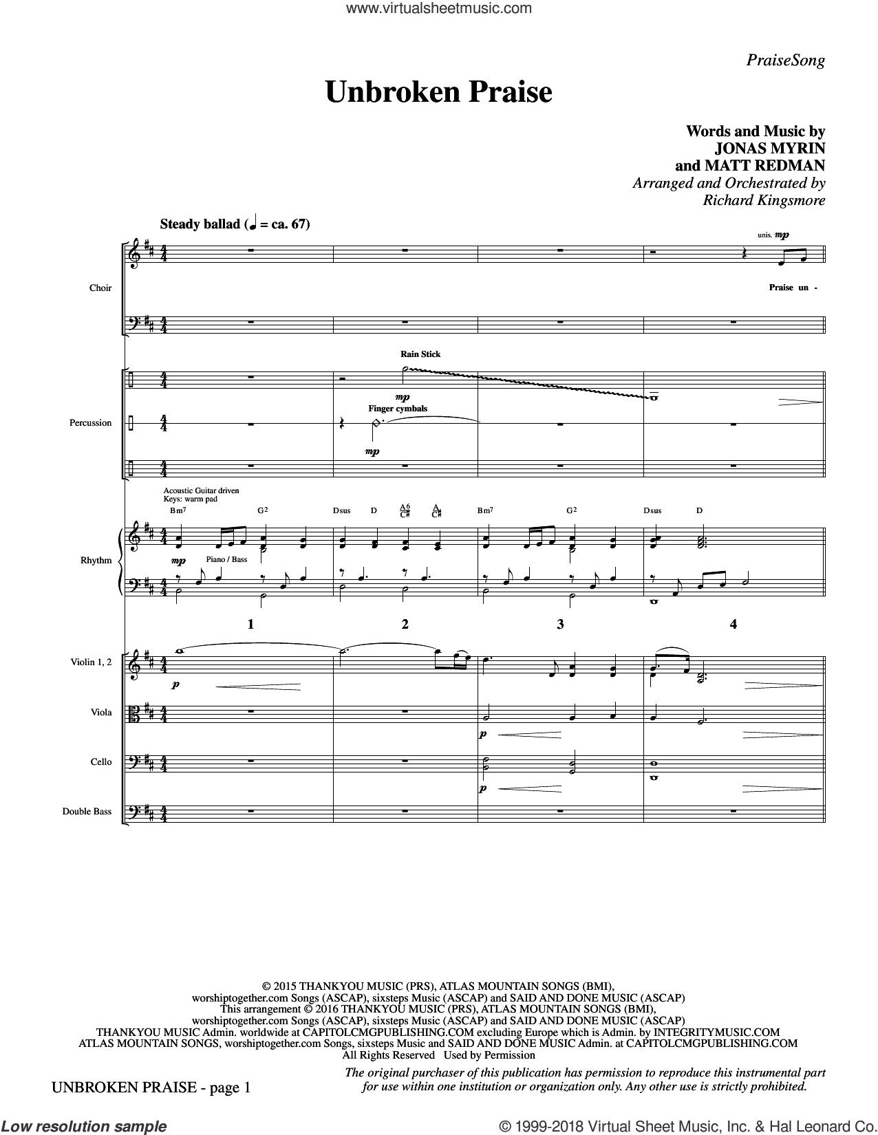 Unbroken Praise (COMPLETE) sheet music for orchestra/band by Matt Redman, Jonas Myrin and Richard Kingsmore, intermediate skill level