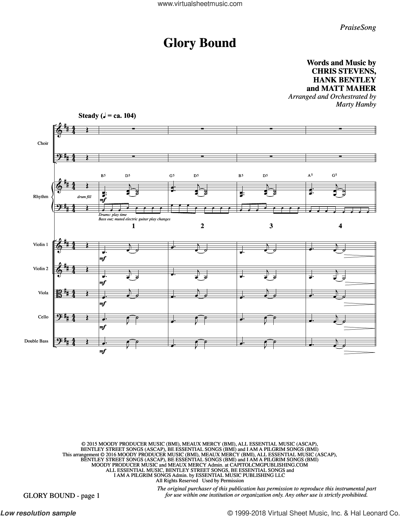 Glory Bound (COMPLETE) sheet music for orchestra/band by Matt Maher, Chris Stevens, Hank Bentley and Marty Hamby, intermediate skill level