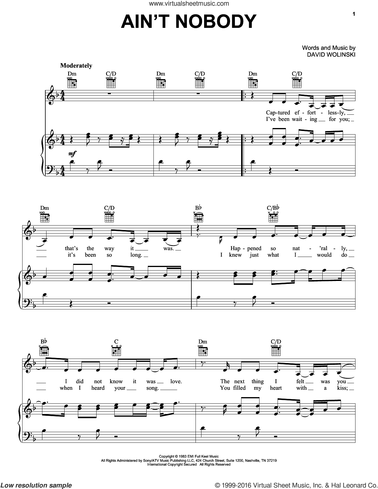 Ain't Nobody sheet music for voice, piano or guitar by Jasmine Thompson, Chaka Khan and David Wolinski, intermediate skill level